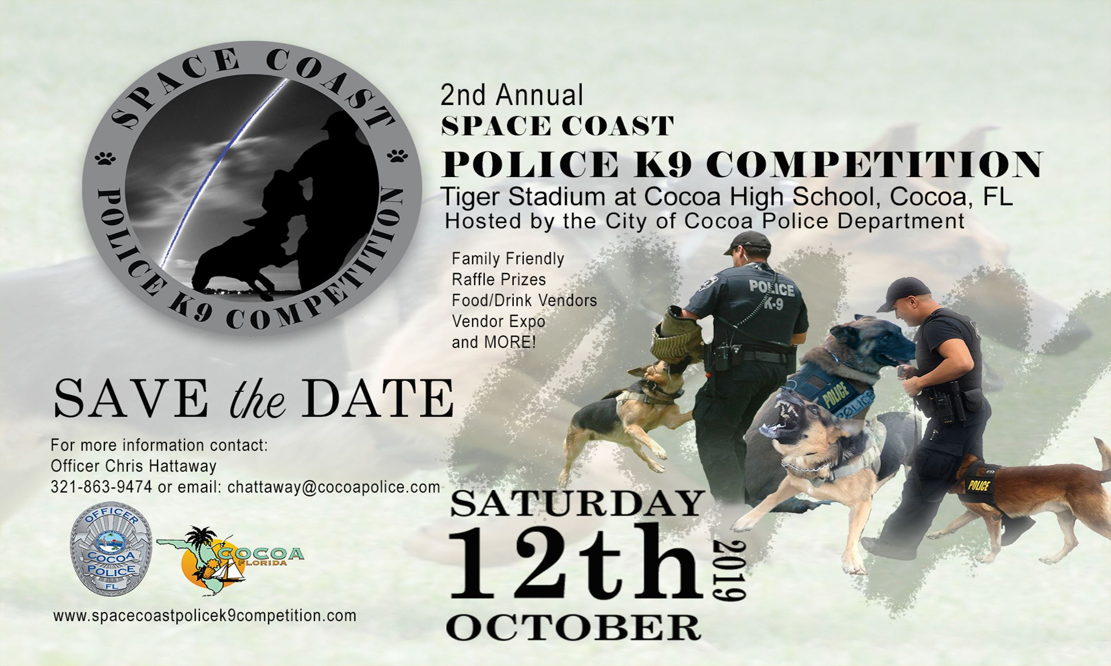 Flyer for 2019 K9 Competition on Saturday, October 12, 2019 at Cocoa High Stadium