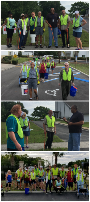 collage of images of Westminster Asbury residents picking up trash, Mayor Jake Williams, Jr. helping